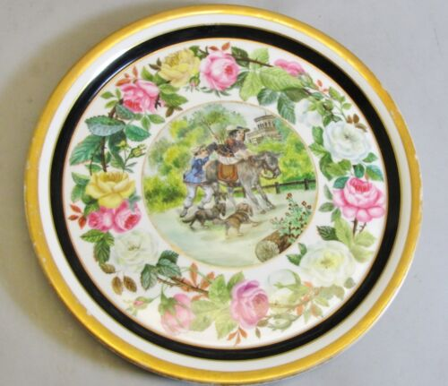 """Fine 13"""" Old Paris French Hand-Painted Dog & Donkey Platter c.1850 antique plate"""
