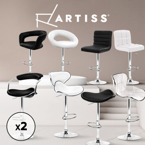 Artiss 2x Bar Stools Kitchen Bar Stool PU PVC Leather Chair Gas Lift Black White <br/> ✔Fast Dispatch✔SGS Tested Gas Lift✔Premium Leather