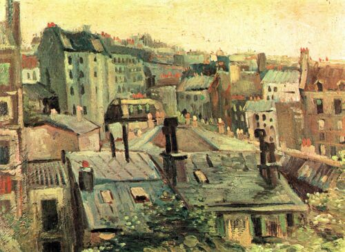 Overlooking the rooftops of Paris by Vincent Van Gogh Giclee Repro on Canvas