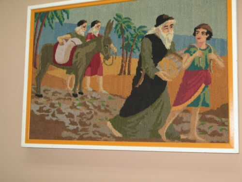 Vintage Handmade Woolwork Textile Tapestry Religious Judaica Excellent