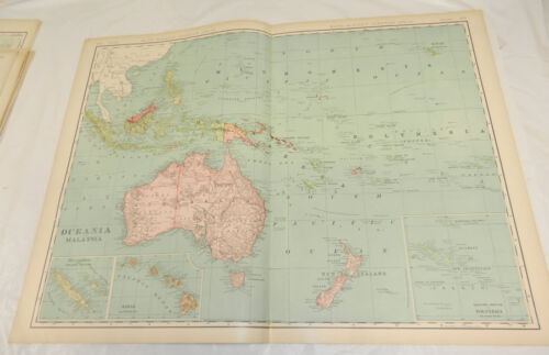 """1908 Rand McNally MAP of OCEANIA & MALAYSIA/Huge 20.5x28"""" Format/Includes Index"""