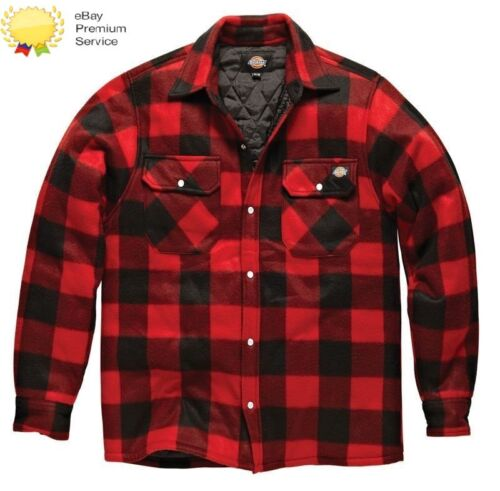 MENS DICKIES PORTLAND WORKWEAR PADDED WORK CASUAL SHIRT SH5000 RED SIZE S-4XL