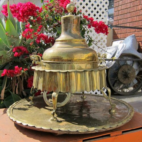 MANGAL Antique c.1850 TRADITIONAL TURKISH HEATER Brass & Copper BAGGAGE BATTLES