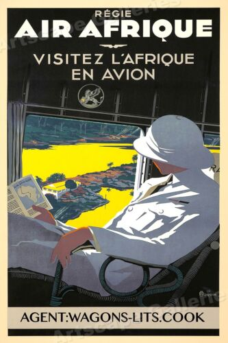 1930s Air Afrique Visit Africa Vintage Style Travel Poster - 20x30