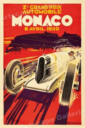 1930 Monaco French Riviera Vintage Style Racing Poster - 16x24