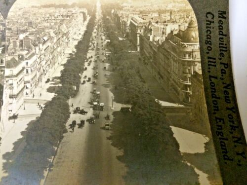 STEREO CARDS  SET OF 2. CHAMPS ELYSEES FRANCE 1913