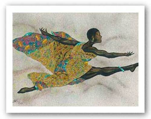 Black Flight by Alonzo Saunders African-American Signed Art Print 32x26