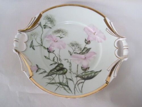 "Hand Painted European Morning Glory & Queen Anne's Lace Open Handled 9.5"" Plate"