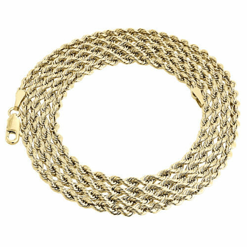 Mens Ladies 1/10th 10K Yellow Gold 3.30 MM Hollow Rope Chain Necklace 24 Inch