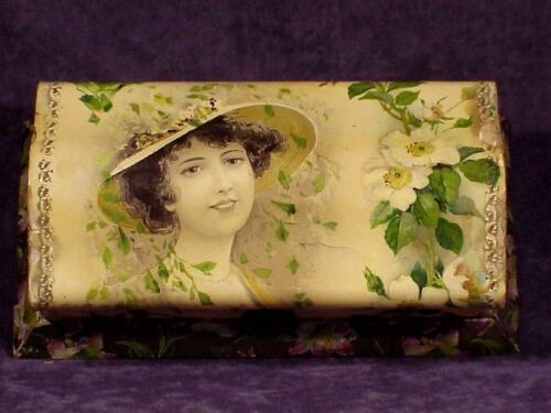 Antique VICTORIAN CELLULOID DRESSER BOX - With Lady Wearing Hat, Flowers