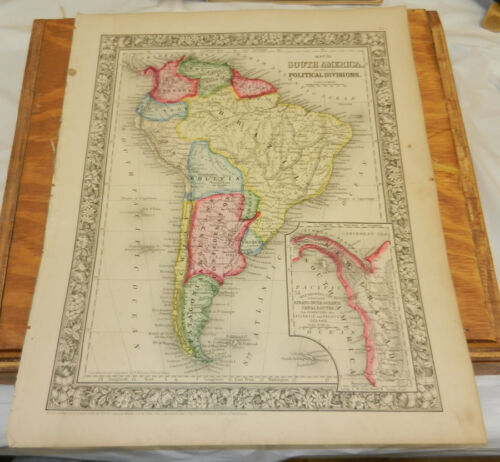 1860 Mitchell Antique COLOR Map/SOUTH AMERICA