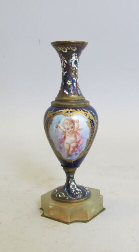 19th C. Sevres Hand-Painted Champleve Vase w/ Cherub & Onyx  c. 1890  antique