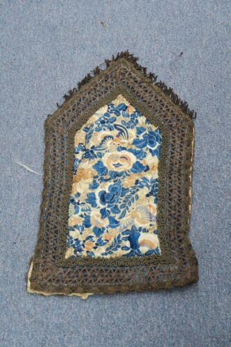 """Antique Chinese Silk Embroidery Bats Bag With Gold Thread trim & accents 11""""x19"""""""