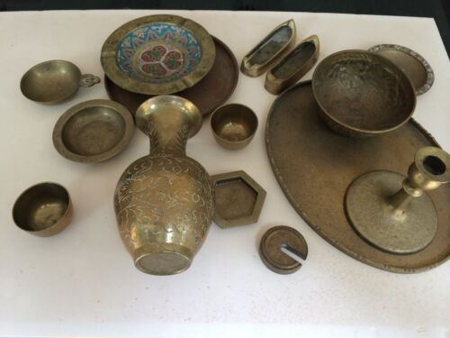 ANTIQUE  CHINA BRASS 15 MISC PIECES MOST MARKED CHINA