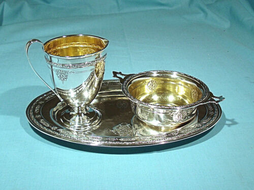 TOWLE STERLING 3-PIECE SET ~ CREAMER, OPEN SUGAR & TRAY ~ LOUIS XIV ~ NO MONO