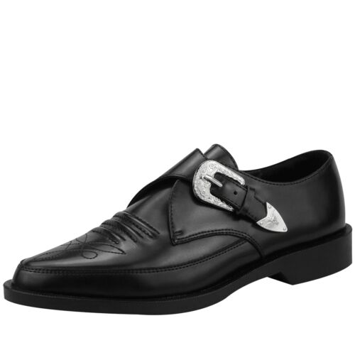 T.U.K. Western Detail Silver Tipped Buckle Black Leather Pointed Toe Jam Shoe