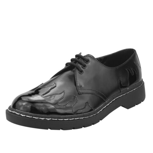 T.U.K. Men's Black Leather With Patent Flames 3-Eye Laced Gibson Oxford Shoes