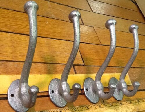 4 rustic COAT Hat Wall HOOK 4-1/2 raw unfinished cast iron vintage antique style