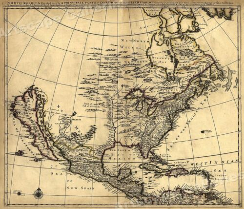 1685 Historic Map of Early North America - 24x28