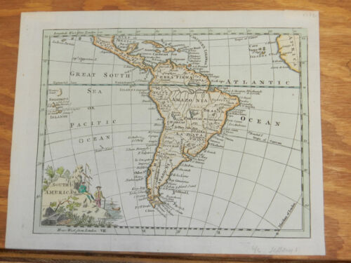 1772 Antique COLOR Map//SOUTH AMERICA (WITH CENTRAL AMERICA)