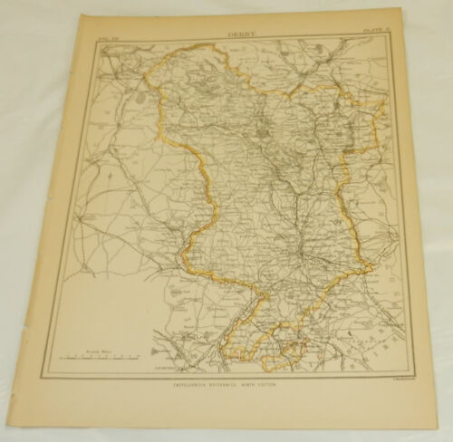1878 Antique COLOR Map/DERBY, ENGLAND