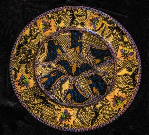 BEAUTIFUL HAND-CRAFTED DECORATIVE PLATE...One of a kind...Fireflies and Bats