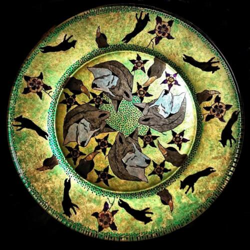 BEAUTIFUL HAND-CRAFTED DECORATIVE PLATE...One of a kind...  Dog Wolf  1