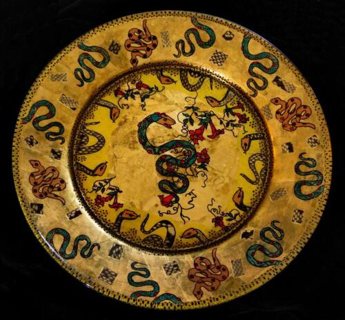 BEAUTIFUL HAND-CRAFTED DECORATIVE PLATE...One of a kind...Snakes  1