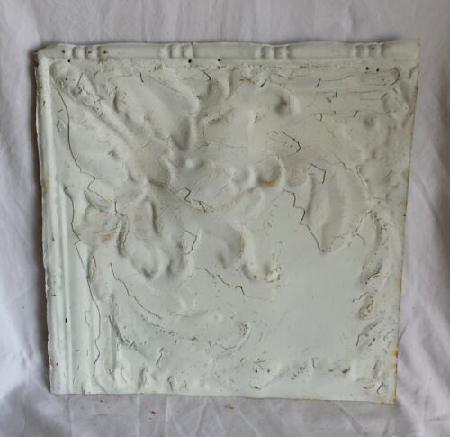 "1890's 12"" x 12"" Antique Tin Ceiling Tile  White Ap11  Metal Shabby"
