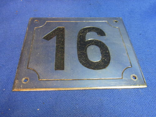 Mid Century Chrome with Black Numbers House Sign No. 16 #L