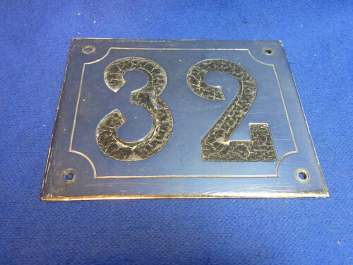 Mid Century Chrome with Black Numbers House Sign No. 32 #L