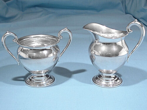 ONEIDA HEIRLOOM STERLING MINI CREAMER & OPEN SUGAR SET ~ DAMASK ROSE ~ NO MONO