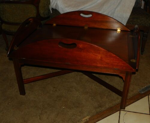 Book Matched Veneer Mahogany Butler Coffee Table by Baker  (RP)  (CT91)