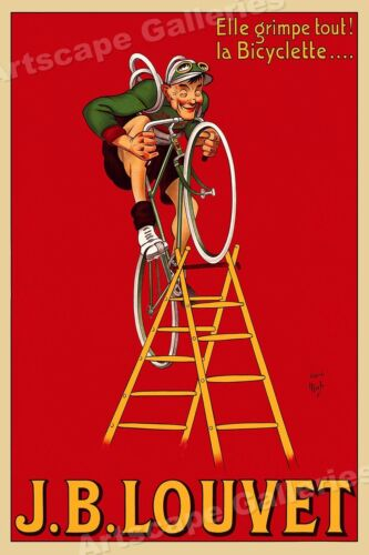 "1920 ""J. B. Louvet"" Vintage Style Cycling Bicycle Racing Poster - 16x24"