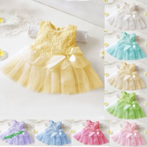 New Baby Girls Toddler Party Princess Lace Pageant Tutu Kids Bow Flower Dresses