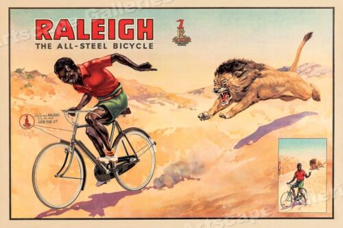 Raleigh Steel Bicycle 1940s Vintage Style Unusual Cycling Poster - 16x24