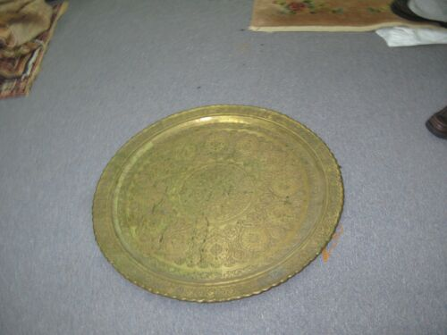 HUGE ANTIQUE ISLAMIC MOSQUE DOME DESIGN COPPER TRAY HAND ETCHED 29""