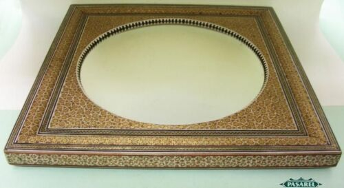 Anglo Indian Micro-Mosaic Inlaid Wood Large Square Convex Mirror