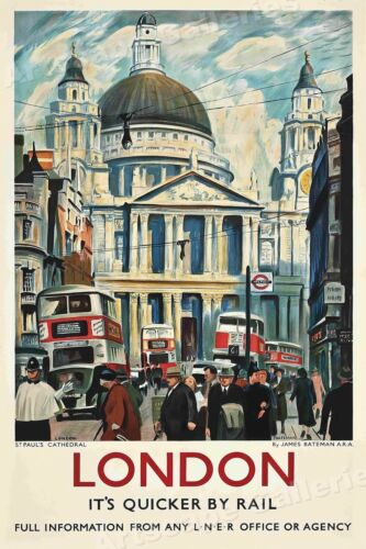 London Quicker by Rail 1953 Vintage Style Travel Poster - 16x24