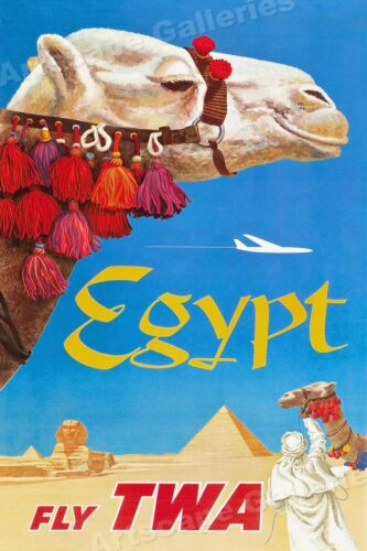 Egypt Fly TWA 1960 Vintage Style Travel Poster - 16x24