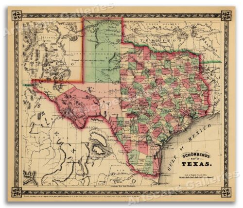 1866 Schönberg's Early Map of Texas Historic Map 24x28