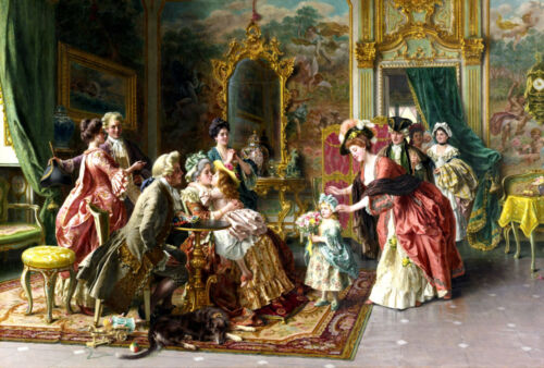 """Oil Painting HD Print Picture Aristocratic palace party on canvas 16""""x24"""" L315"""