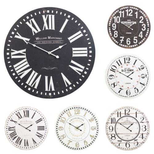 60cm Extra Large Round Wooden Wall Clock Vintage Retro Antique Distressed Chic