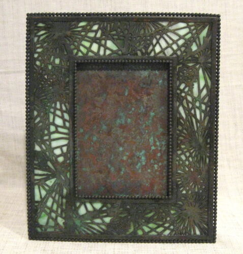 """Tiffany Studios Pine Needle 9 1/2"""" Picture Frame with Green Slag Glass"""