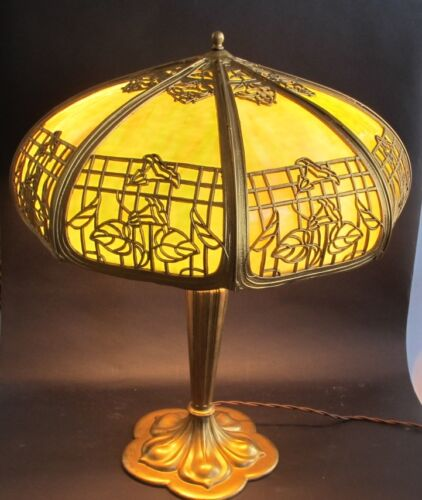 Fine Antique American Art Nouveau Slag Glass Lamp  c. 1910  Panel Leaded