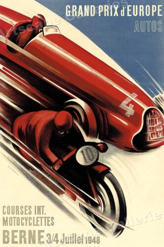 "1940s ""Grand Prix d'Europe Berne"" Vintage Style Racing Travel Poster - 24x36"