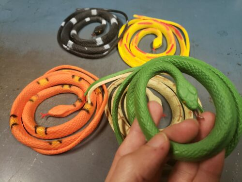 SCARY Plastic Rubber Snake Toy Scare Birds Mice Repeller Realistic Fake SET OF 3