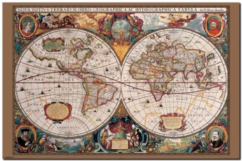 VINTAGE WORLD MAP 1600's- QUALITY CANVAS ART PRINT- Poster A4
