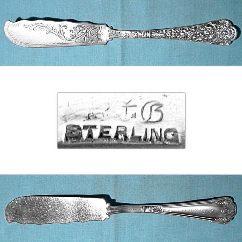 GORHAM STERLING FLAT HANDLE BRIGHT CUT MASTER BUTTER ~ CLUNY ~ MONO H. RANSHAW