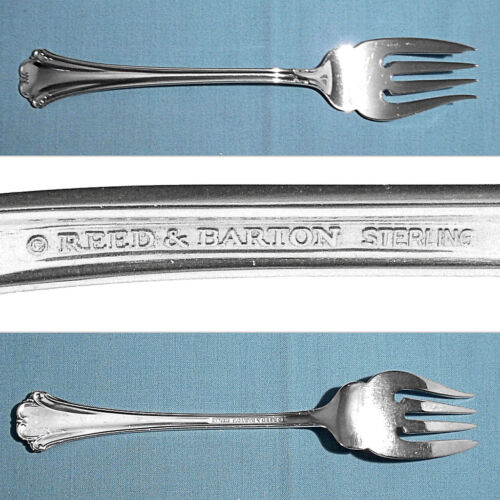 REED & BARTON STERLING SALAD FORK ~ ENGLISH CHIPPENDALE ~ NO MONO